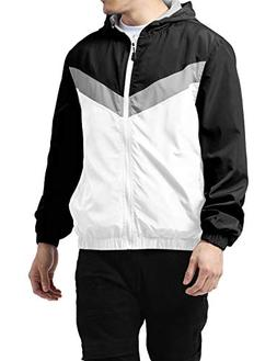 Hat and Beyond Mens Windbreaker Casual Lightweight Hooded Ja