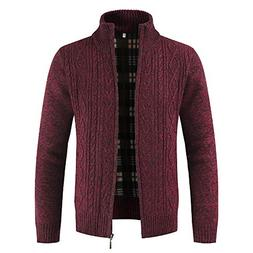 DaySeventh Mens Winter Zipper Outwear Tops Solid Stand Colla