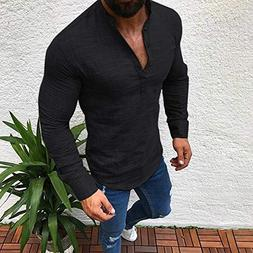 Most Wished!!! Teresamoon Men Linen Long Sleeve V Neck Butto