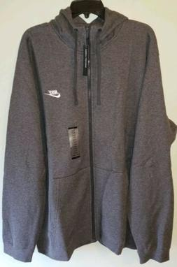 NEW Nike Men's 3XLT Zip Hoodie Sweatshirt GRAY Fleece Jacket