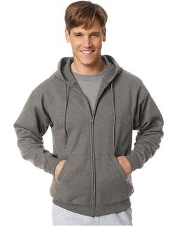 New Men's Hanes Full Zipper  Charcoal Eco Smart Hoodie Hoode