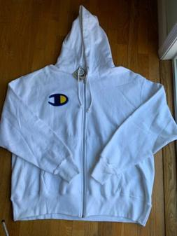 NEW Champion Mens White Hoodie With Zipper Size 2XL