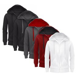 New Plain Mens Hoodie American Fleece Zip Up Jacket Sweatshi