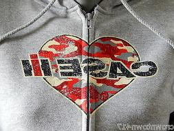 New Women's Case IH Camo Heart Logo Zippered Hoodie gray siz