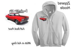 NEW ZIPPERED HOODIE 1970 Chevelle SS Red w/black stripes