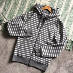 NWOT Amazon Essentials Gray And White Striped Zip Hoodie Swe