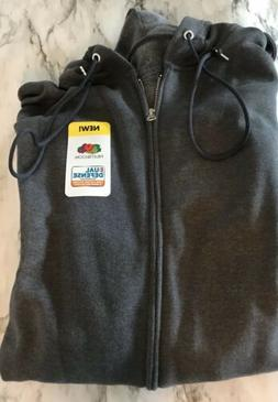 NWT Fruit of the Loom Full Zip Hoodie Sweatshirt S-3XL Dark