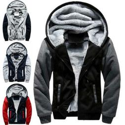 Plus Size Mens Winter Warm Thick Fleece Lined Hooded Hoodie