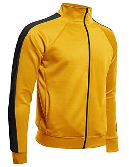 Premium Quality Shoulder Panel Zip-Up Track Jacket Yellow Bl