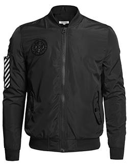 premium quality sleeve pocket bomber jacket black
