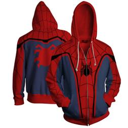 SPIDERMAN Homecoming Mens Zipper Casual Hoodie Jacket Coat s