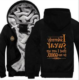 Thick Hoodie Letter Printed Long Sleeve Zipper Cotton Hat Ho