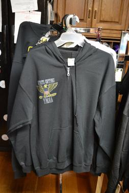 United States Army Black Zippered Hooded Sweatshirt - 50/50/