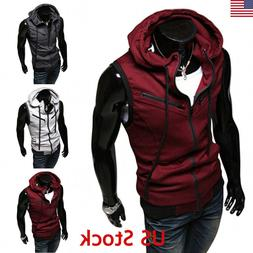 US Men Casual Hoodie Hat Sleeveless Zipper Jacket Vest Waist