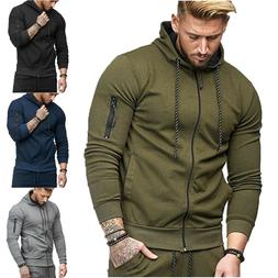 US Men Hooded Hoodie Coat Jacket Outwear Sweater Fit Jumper