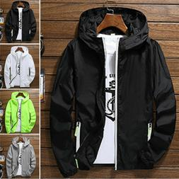 us men waterproof windbreaker zipper jacket hoodie