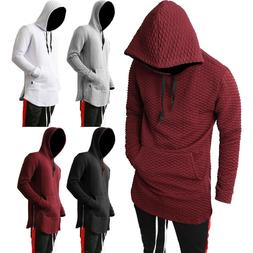 Mens HOODIE Zipper longline Elongated Hipster Hip Hop Fashio
