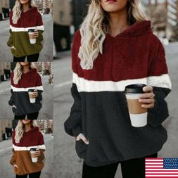 Winter Women Warm Fluffy Fleece Pocket Hoodies Sweater Hoode