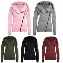 Women Cowl Neck Zipper Hoodie Jacket Coat Sweater Sweatshirt