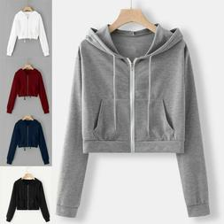 Women Crop Hoodie Jumper Sweatshirt Sweater Casual Zipper To