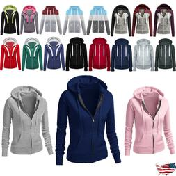 Women Ladies Long Sleeve Zipper Sweatshirt Hoodie Outwear Ho