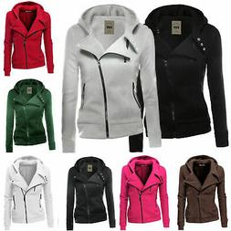 Women Ladies Zipper Tops Hoodie Hooded Sweatshirt Coat Jacke