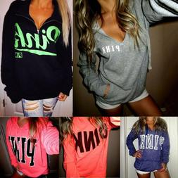 Women Long Sleeve Sweatshirt Letter Pink Print Hooded Jumper