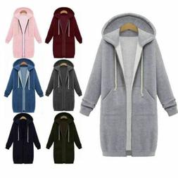Women Plus Size Winter Zipper Hoodie Sweater Hooded Long Jac