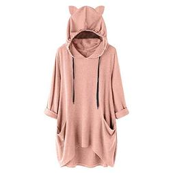 iFOMO Women's Solid Color Casual Hooded Sweater Top Long Sle
