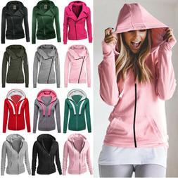 Women Winter Plain Zip Up Fleece Hooded Sweatshirt Hoodies C