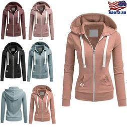Women Zipper Hoodie Hooded Sweatshirt Coat Jacket Casual Sli