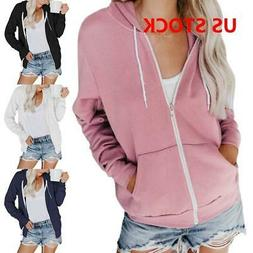 Womens Classic Active Thin Cotton Hoodie Hooded Zipper Zip-U