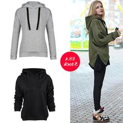 Womens Fashion Long Sleeves Pullover Hooded Tops Zipper Coat