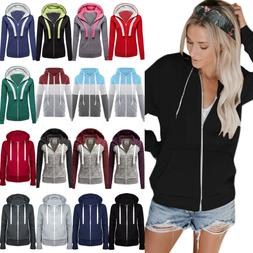 Womens Long Sleeve Zipper Sweatshirt Hoodie Sport Outwear Ho