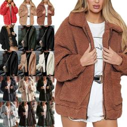 Womens Teddy Bear Thick Warm Jacket Coats Faux Fur Fluffy Ov
