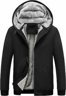 Yeokou Men's Winter Thicken Fleece Sherpa Lined Zipper Hoodi