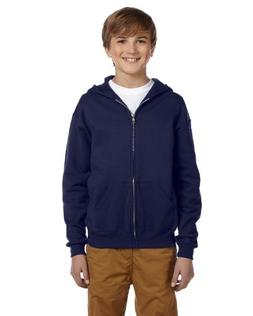 Jerzees Youth Nublend Full-Zip Hooded Sweatshirt, J Nvy, Med