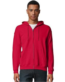 Hanes Men's Full Zip EcoSmart Fleece Hoodie, Deep Red, XX-La