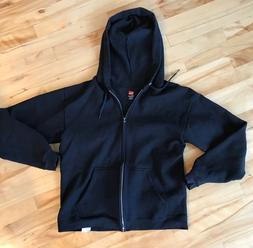 Hanes Zippered Hoodie, Mens Small, Black